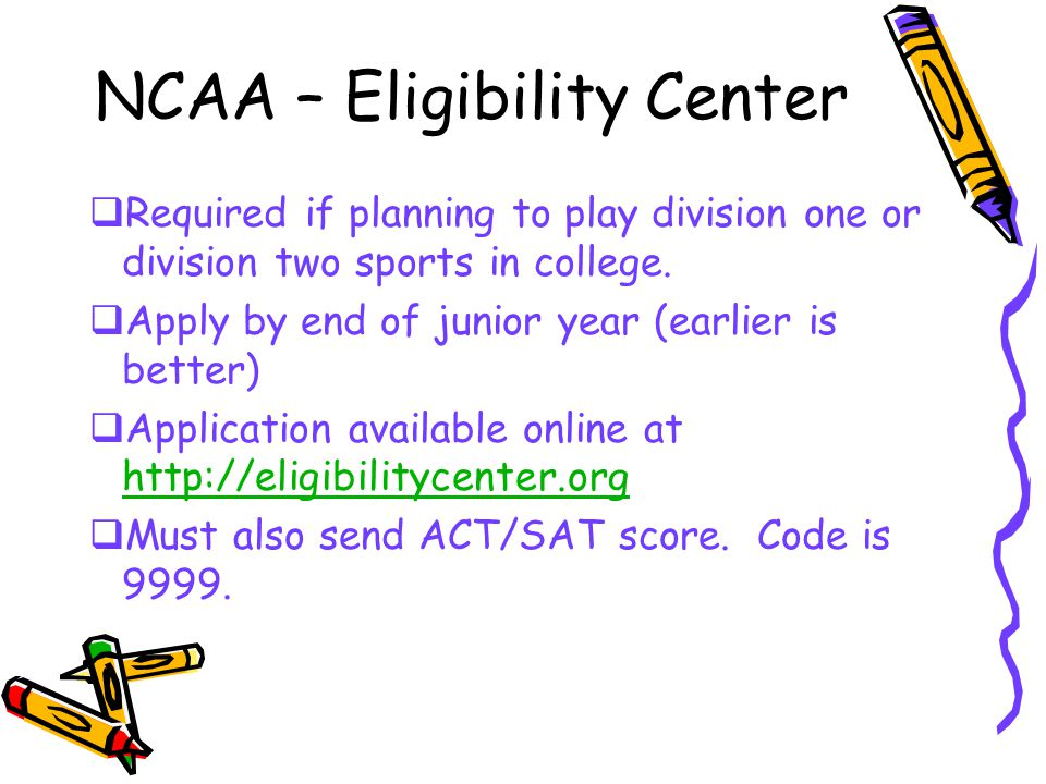NCAA – Eligibility Center  Required if planning to play division one or division two sports in college.