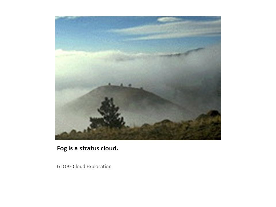 Fog is a stratus cloud. GLOBE Cloud Exploration