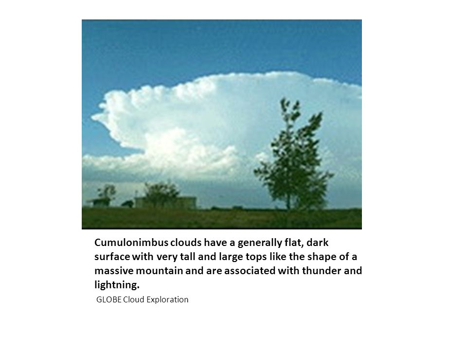Cumulonimbus clouds have a generally flat, dark surface with very tall and large tops like the shape of a massive mountain and are associated with thunder and lightning.