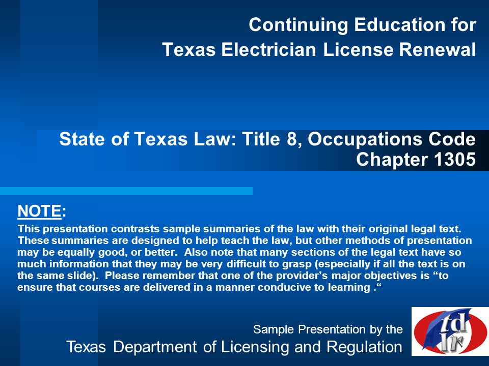Continuing Education for Texas Electrician License Renewal State of