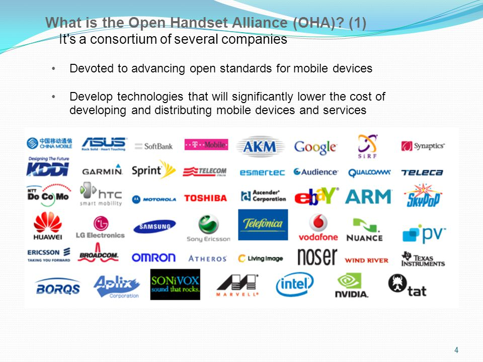 4 What is the Open Handset Alliance (OHA).