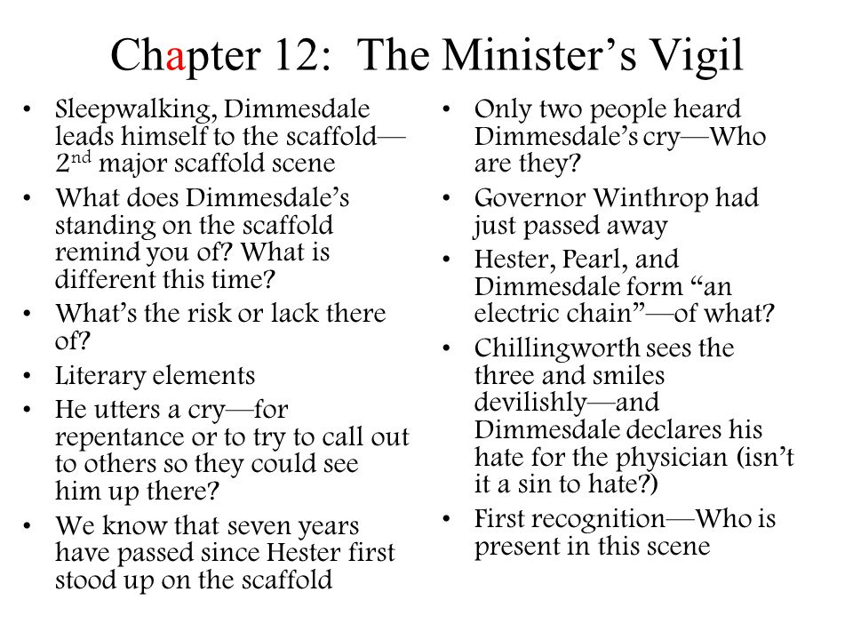 an analysis of chapter 20 of the novel the scarlet letter by nathaniel hawthorne Chapter summary for nathaniel hawthorne's the scarlet letter, chapter 20 summary the chapter's title—the minister in a maze—reinforces the feeling that something is amiss at the outset of the chapter, dimmesdale is hopeful and cheered by the prospect of delivering the election sermon.