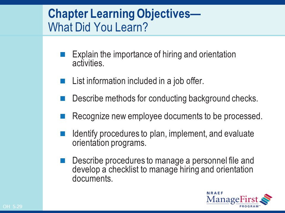 OH 5-29 Chapter Learning Objectives— What Did You Learn.