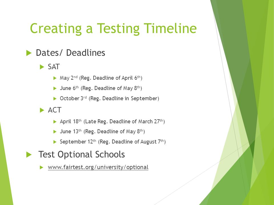 Creating a Testing Timeline  Dates/ Deadlines  SAT  May 2 nd (Reg.