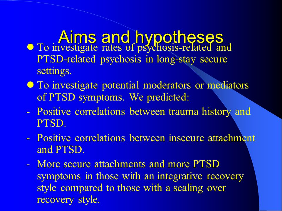 Aims and hypotheses To investigate rates of psychosis-related and PTSD-related psychosis in long-stay secure settings.