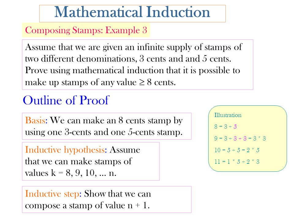 Mathematical Induction Assume that we are given an infinite supply of stamps of two different denominations, 3 cents and and 5 cents.