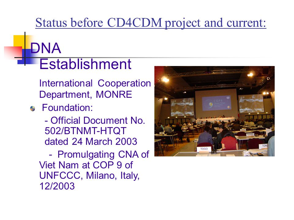 Status before CD4CDM project and current: DNA Establishment International Cooperation Department, MONRE Foundation: - Official Document No.