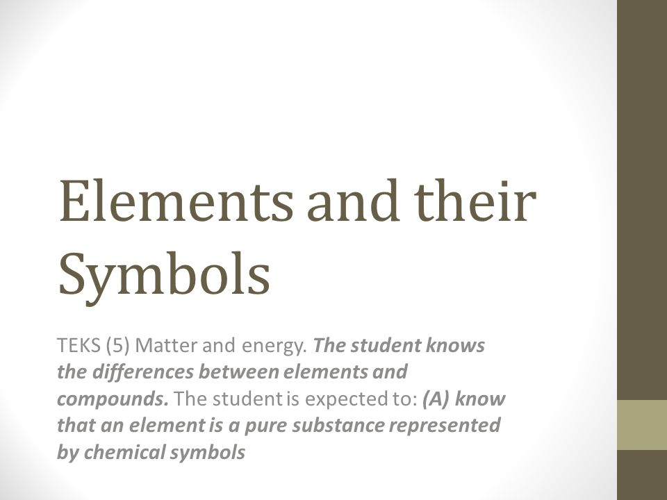Elements And Their Symbols Teks 5 Matter And Energy The Student