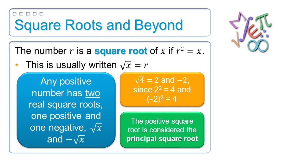 Square Roots and Beyond principal square root The positive square root is considered the principal square root