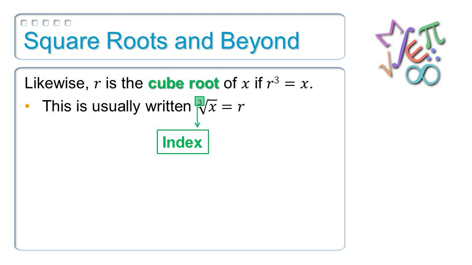 Square Roots and Beyond Index