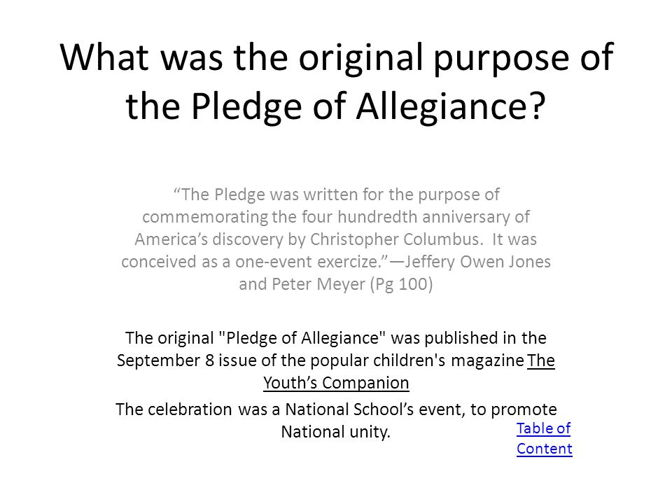 What was the original purpose of the Pledge of Allegiance.