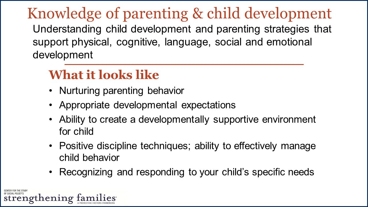 What it looks like Nurturing parenting behavior Appropriate developmental expectations Ability to create a developmentally supportive environment for child Positive discipline techniques; ability to effectively manage child behavior Recognizing and responding to your child's specific needs Understanding child development and parenting strategies that support physical, cognitive, language, social and emotional development Knowledge of parenting & child development