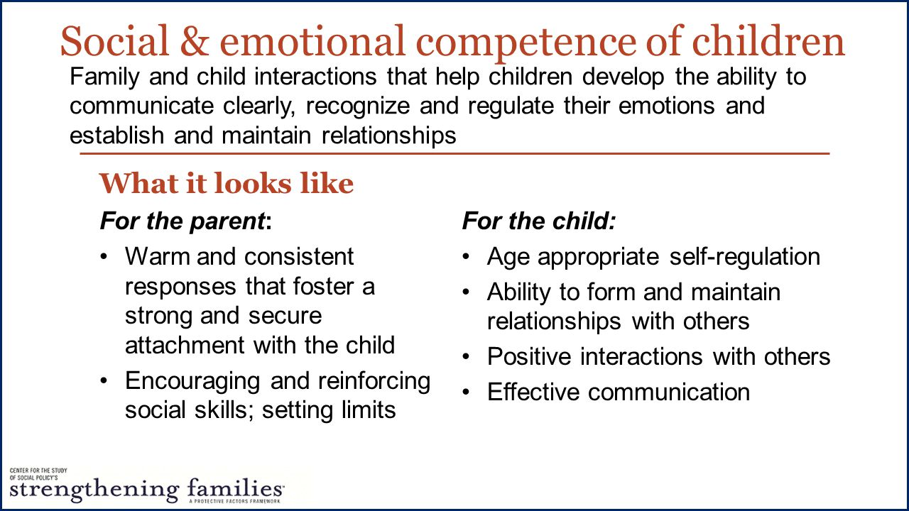 Social & emotional competence of children What it looks like For the parent: Warm and consistent responses that foster a strong and secure attachment with the child Encouraging and reinforcing social skills; setting limits Family and child interactions that help children develop the ability to communicate clearly, recognize and regulate their emotions and establish and maintain relationships For the child: Age appropriate self-regulation Ability to form and maintain relationships with others Positive interactions with others Effective communication