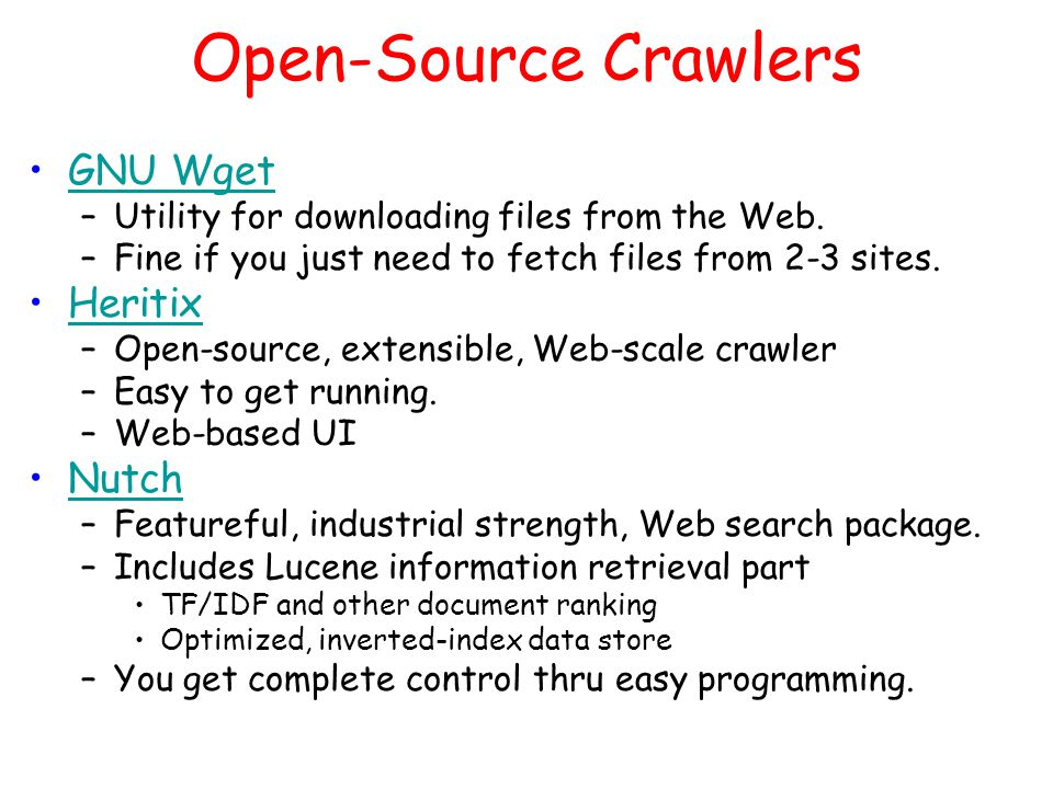 Crawling HTML  Class Overview Network Layer Document Layer