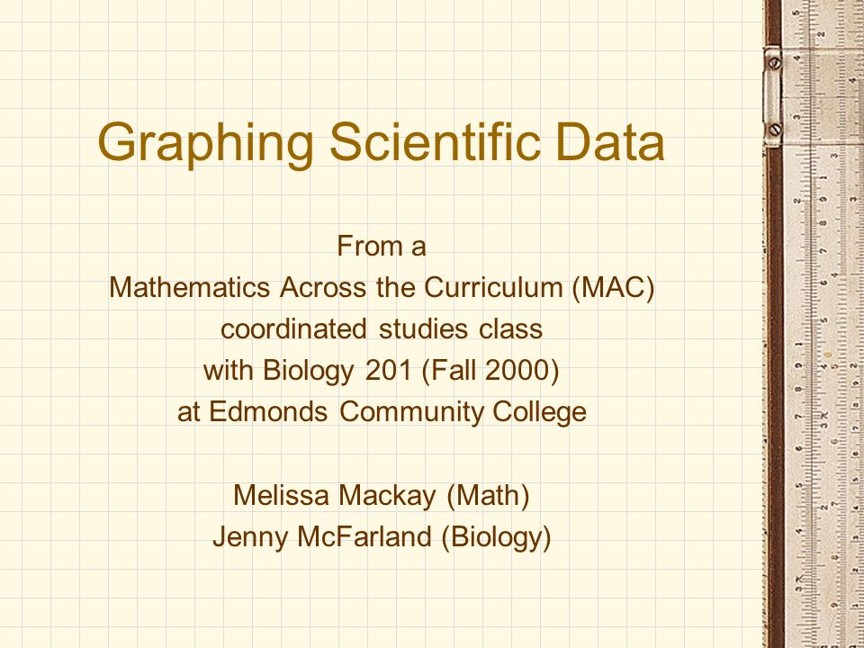 Graphing Scientific Data From a Mathematics Across the Curriculum (MAC) coordinated studies class with Biology 201 (Fall 2000) at Edmonds Community College Melissa Mackay (Math) Jenny McFarland (Biology)