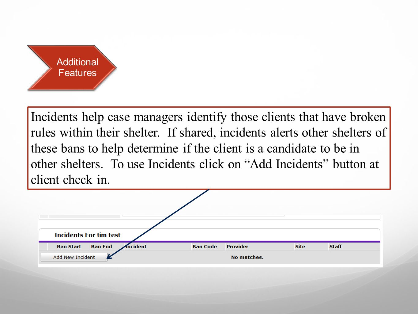 Incidents help case managers identify those clients that have broken rules within their shelter.