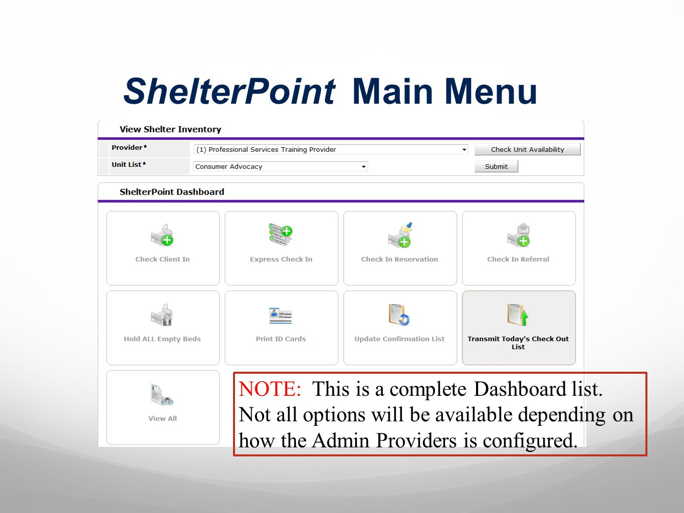 ShelterPoint Main Menu NOTE: This is a complete Dashboard list.