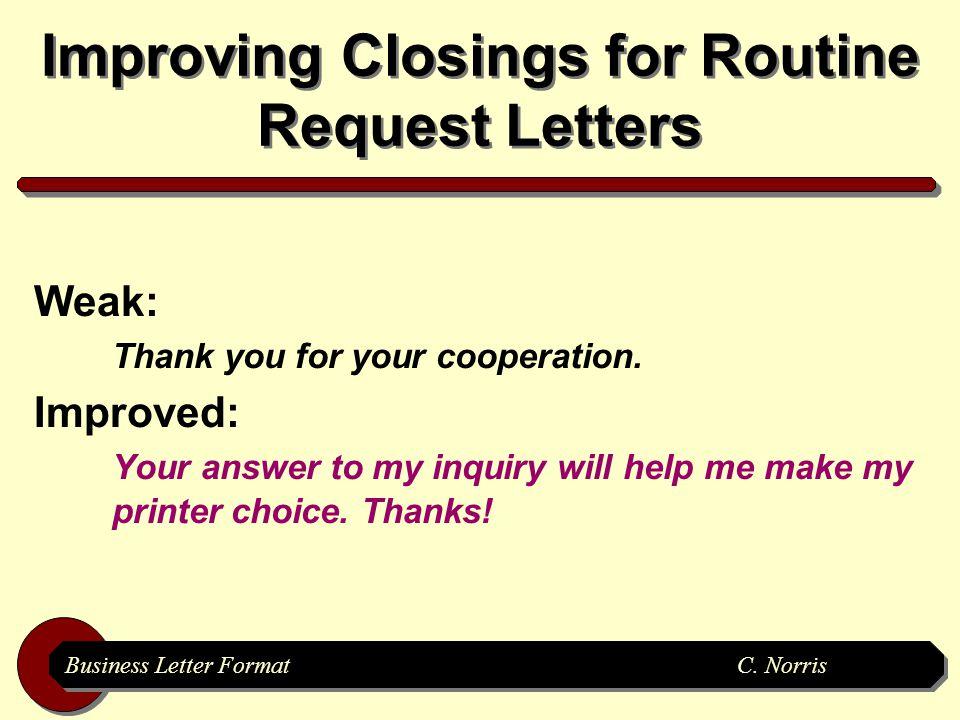 Business Letter Formatc Norris Business Letter Format Creating
