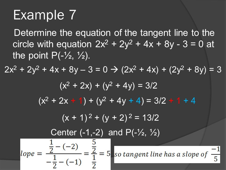 Example 7 Determine the equation of the tangent line to the circle with equation 2x 2 + 2y 2 + 4x + 8y - 3 = 0 at the point P(-½, ½).