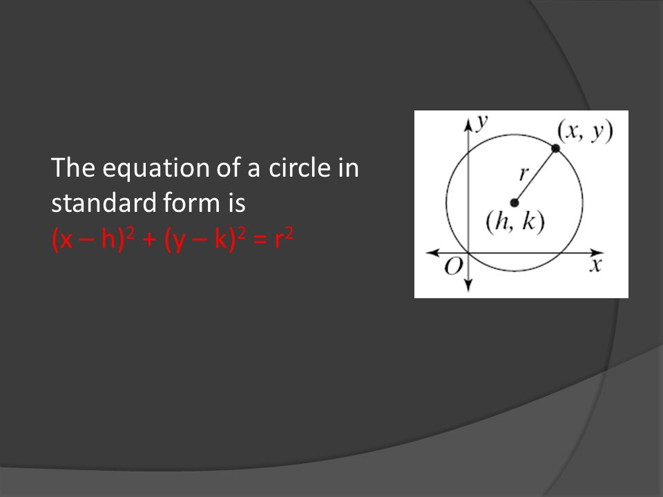 The equation of a circle in standard form is (x – h) 2 + (y – k) 2 = r 2