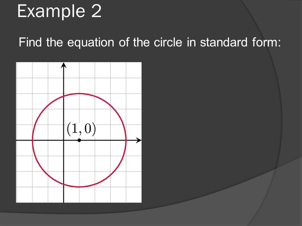 Example 2 Find the equation of the circle in standard form: