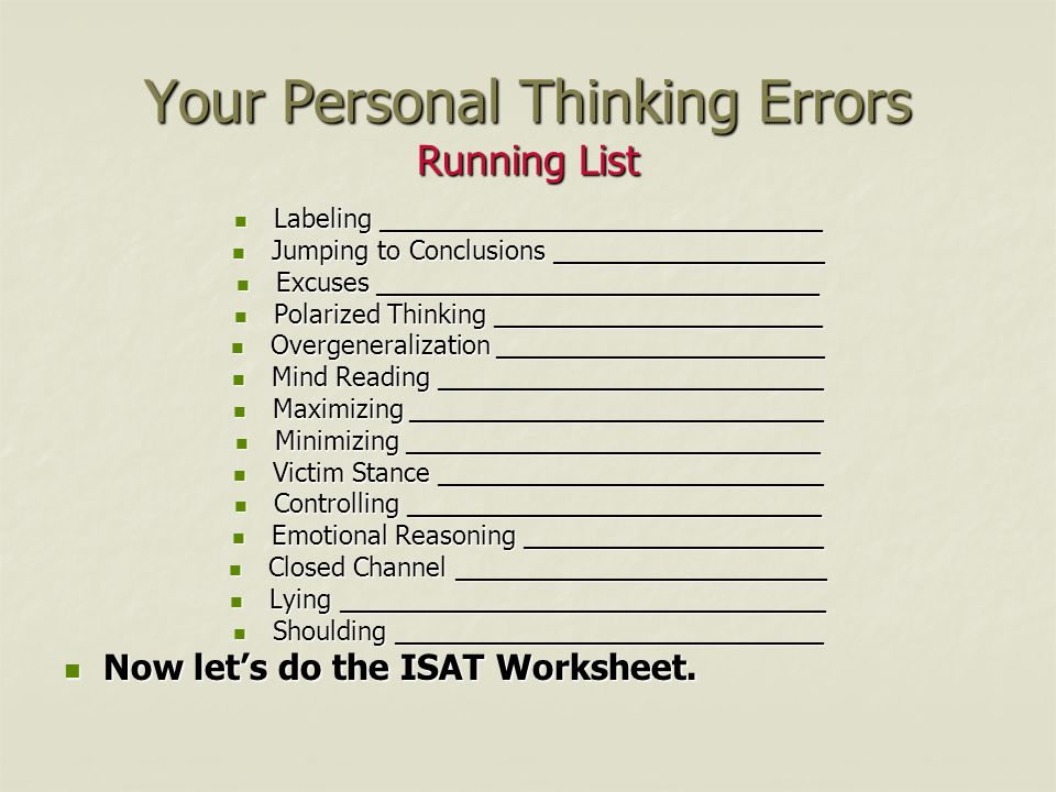 Thinking Errors Worksheet Livinghealthybulletin