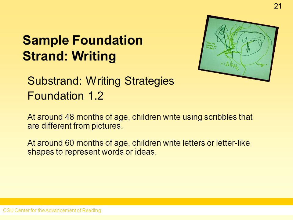 21 Sample Foundation Strand: Writing Substrand: Writing Strategies Foundation 1.2 At around 48 months of age, children write using scribbles that are different from pictures.