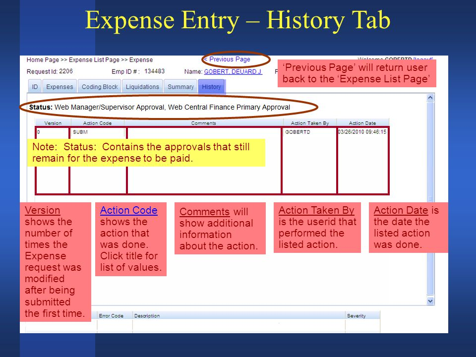 Expense Entry – History Tab Version shows the number of times the Expense request was modified after being submitted the first time.