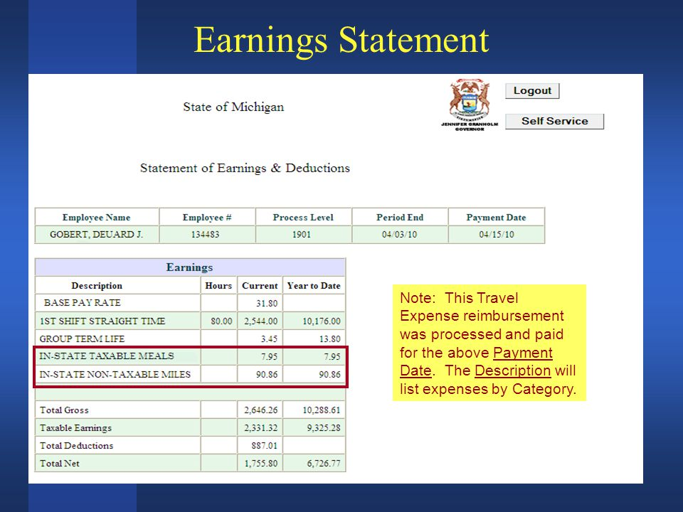 Earnings Statement Note: This Travel Expense reimbursement was processed and paid for the above Payment Date.