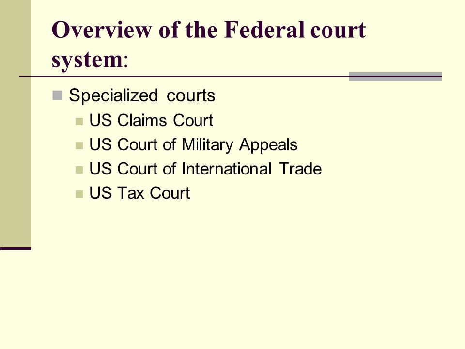 Overview of the Federal court system: Specialized courts US Claims Court US Court of Military Appeals US Court of International Trade US Tax Court