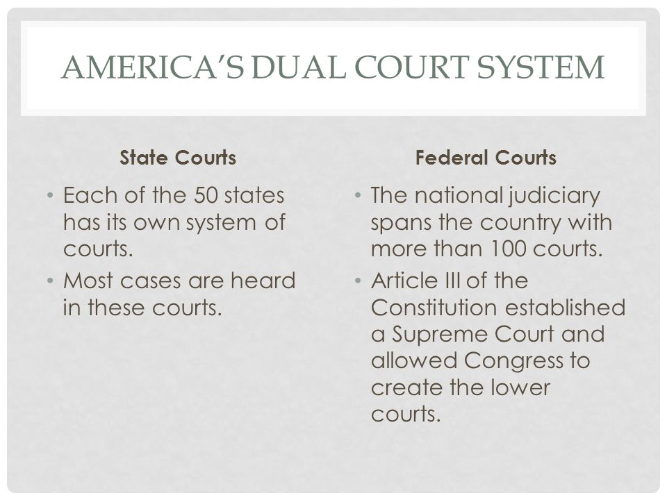AMERICA'S DUAL COURT SYSTEM State Courts Each of the 50 states has its own system of courts.