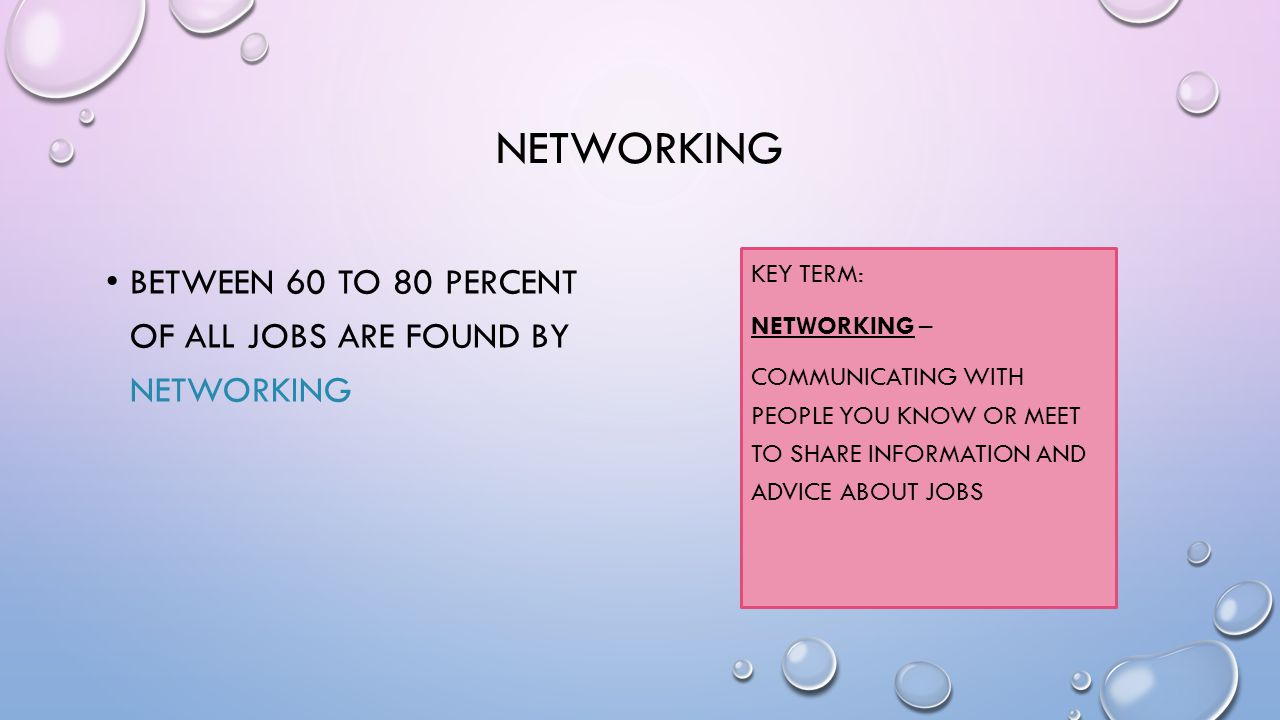 NETWORKING BETWEEN 60 TO 80 PERCENT OF ALL JOBS ARE FOUND BY NETWORKING KEY TERM: NETWORKING – COMMUNICATING WITH PEOPLE YOU KNOW OR MEET TO SHARE INFORMATION AND ADVICE ABOUT JOBS