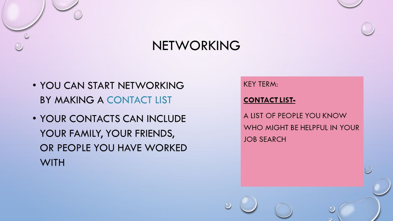 NETWORKING YOU CAN START NETWORKING BY MAKING A CONTACT LIST YOUR CONTACTS CAN INCLUDE YOUR FAMILY, YOUR FRIENDS, OR PEOPLE YOU HAVE WORKED WITH KEY TERM: CONTACT LIST- A LIST OF PEOPLE YOU KNOW WHO MIGHT BE HELPFUL IN YOUR JOB SEARCH