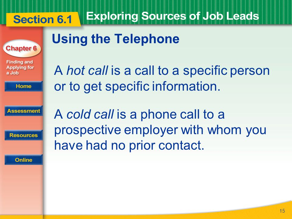 15 Using the Telephone A hot call is a call to a specific person or to get specific information.