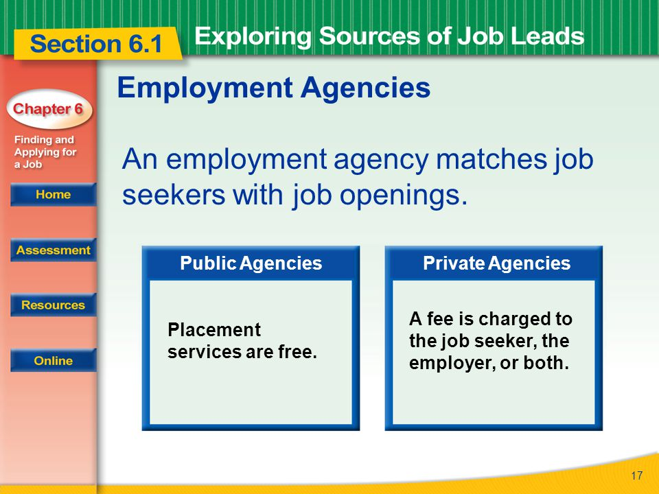 17 Employment Agencies An employment agency matches job seekers with job openings.