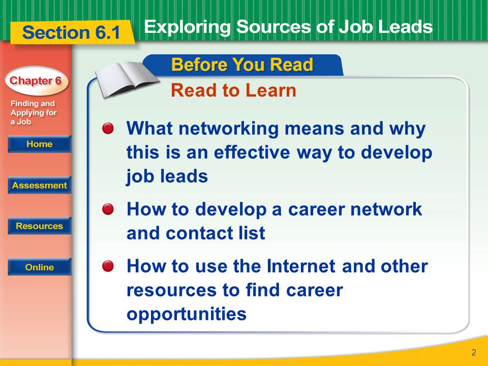2 Read to Learn What networking means and why this is an effective way to develop job leads How to develop a career network and contact list How to use the Internet and other resources to find career opportunities