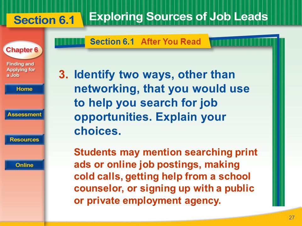 27 Section 6.1 After You Read 3.Identify two ways, other than networking, that you would use to help you search for job opportunities.
