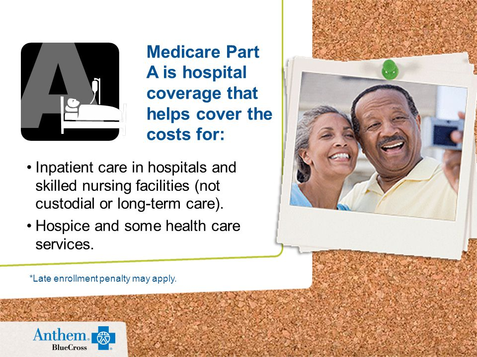 Inpatient care in hospitals and skilled nursing facilities (not custodial or long-term care).