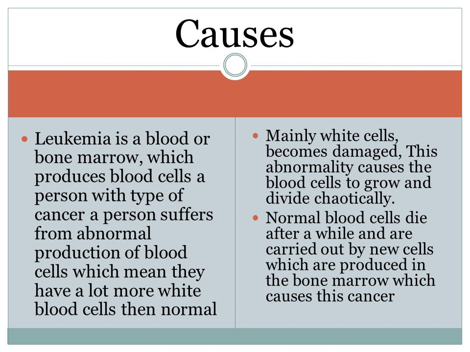 Leukemia is a blood or bone marrow, which produces blood cells a person with type of cancer a person suffers from abnormal production of blood cells which mean they have a lot more white blood cells then normal Mainly white cells, becomes damaged, This abnormality causes the blood cells to grow and divide chaotically.