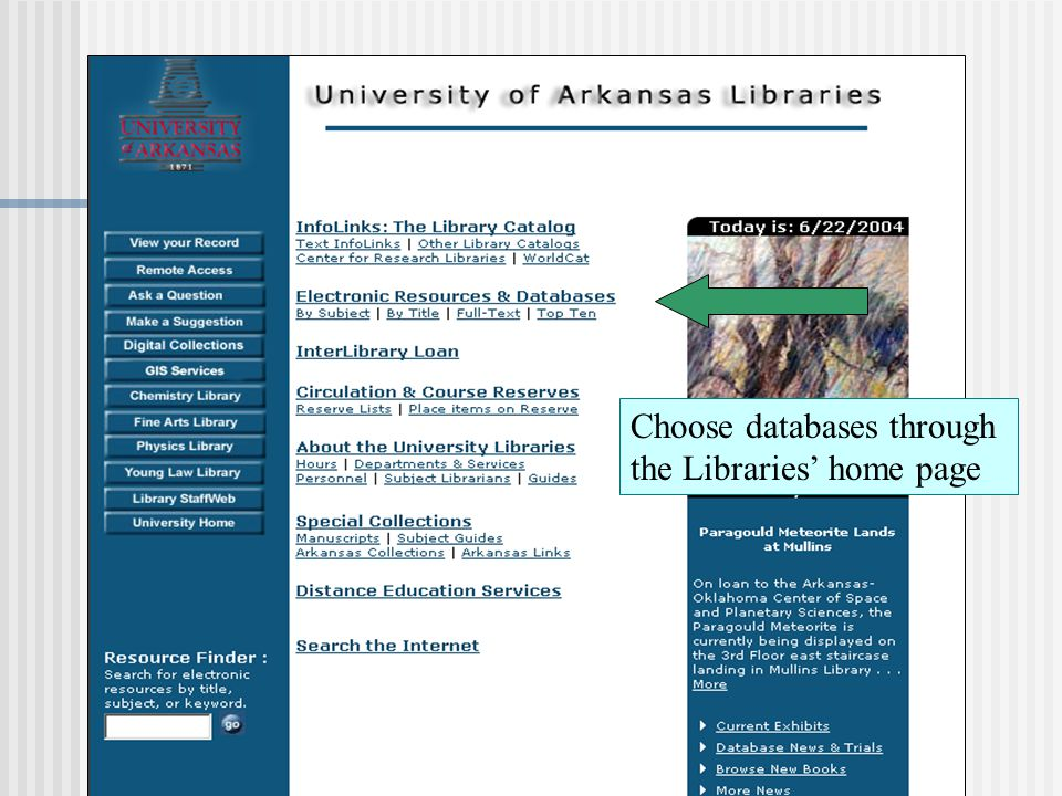 Choose databases through the Libraries' home page