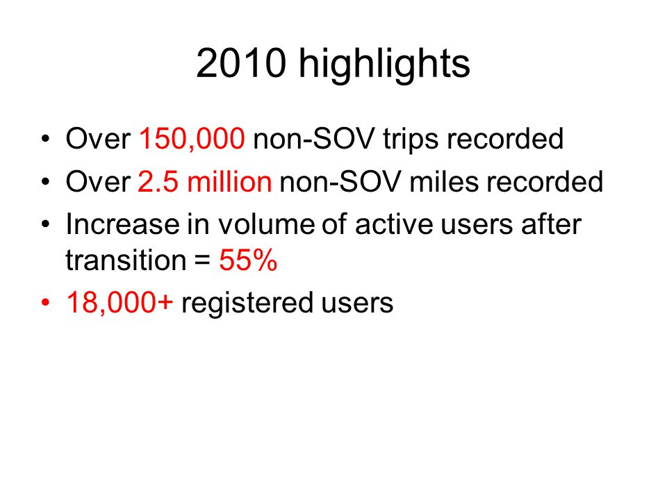 2010 highlights Over 150,000 non-SOV trips recorded Over 2.5 million non-SOV miles recorded Increase in volume of active users after transition = 55% 18,000+ registered users