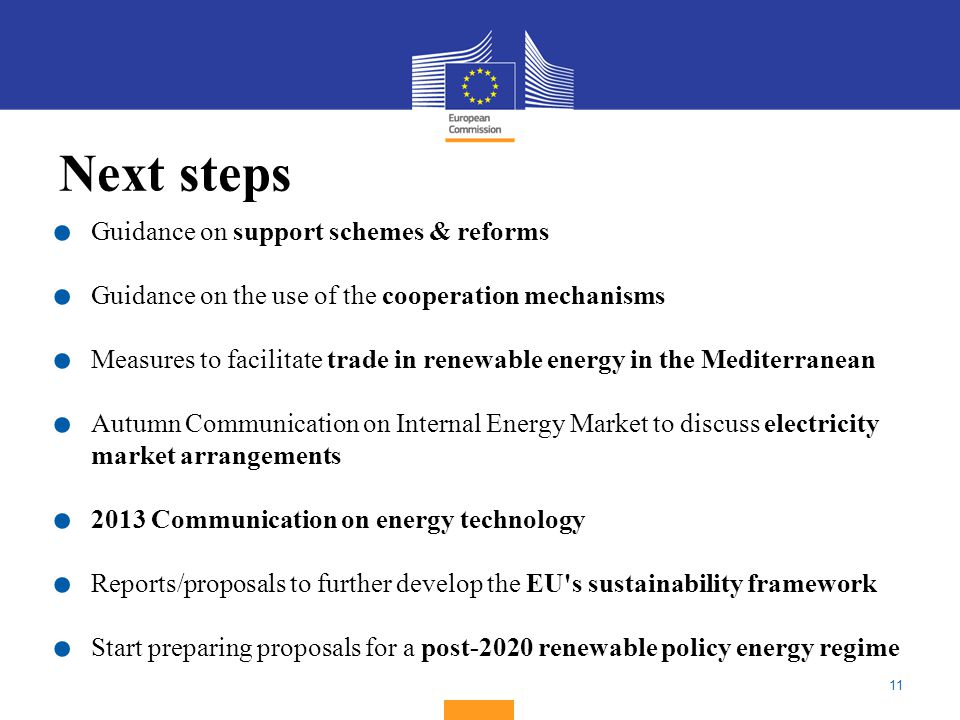 11 Next steps. Guidance on support schemes & reforms.