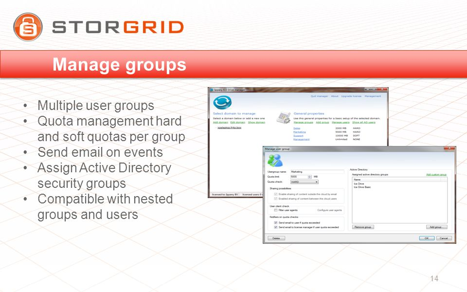 Multiple user groups Quota management hard and soft quotas per group Send  on events Assign Active Directory security groups Compatible with nested groups and users Manage groups 14