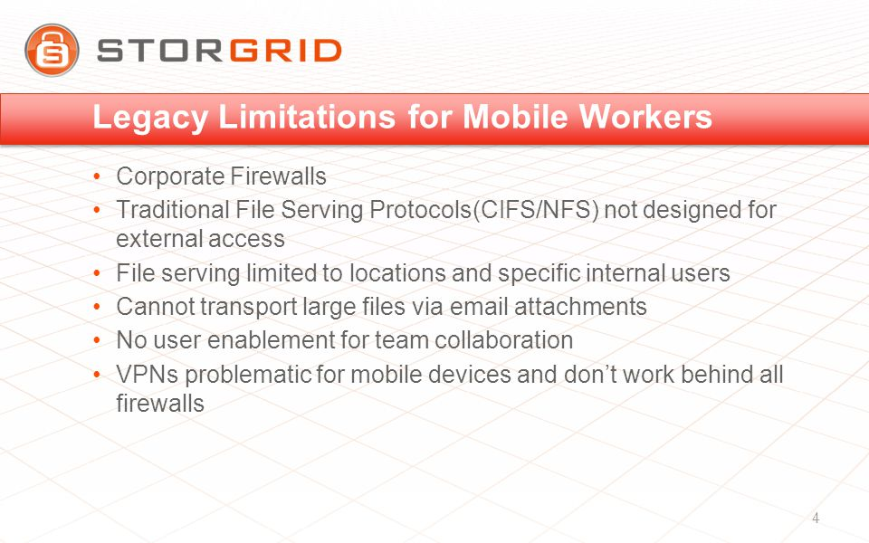 Legacy Limitations for Mobile Workers Corporate Firewalls Traditional File Serving Protocols(CIFS/NFS) not designed for external access File serving limited to locations and specific internal users Cannot transport large files via  attachments No user enablement for team collaboration VPNs problematic for mobile devices and don't work behind all firewalls 4