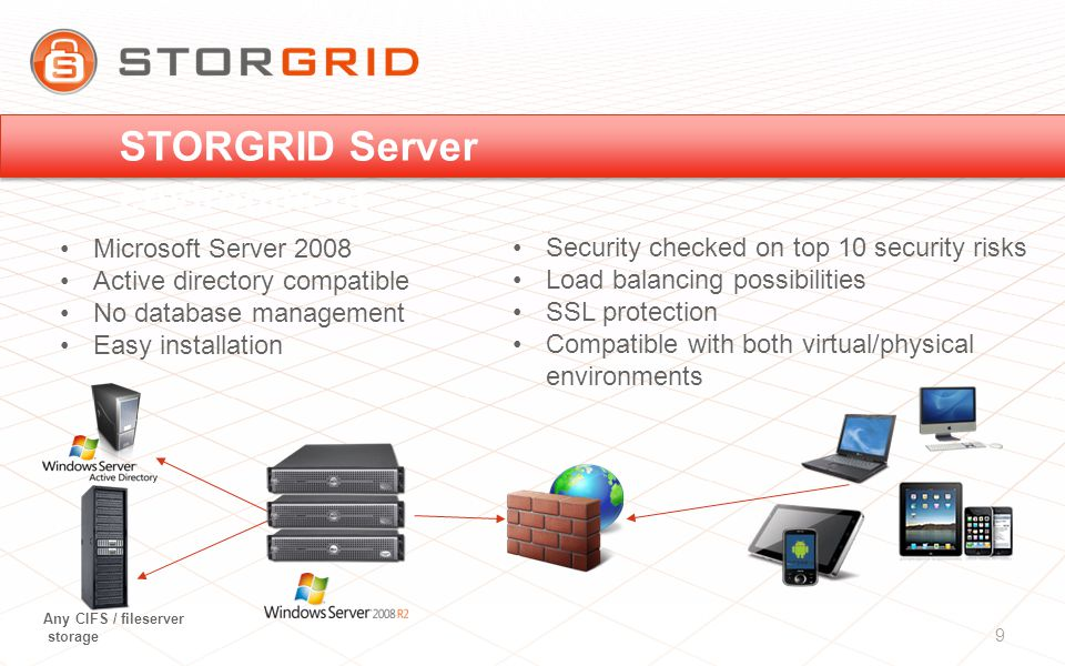 Microsoft Server 2008 Active directory compatible No database management Easy installation Any CIFS / fileserver storage Security checked on top 10 security risks Load balancing possibilities SSL protection Compatible with both virtual/physical environments 9 STORGRID Server environment