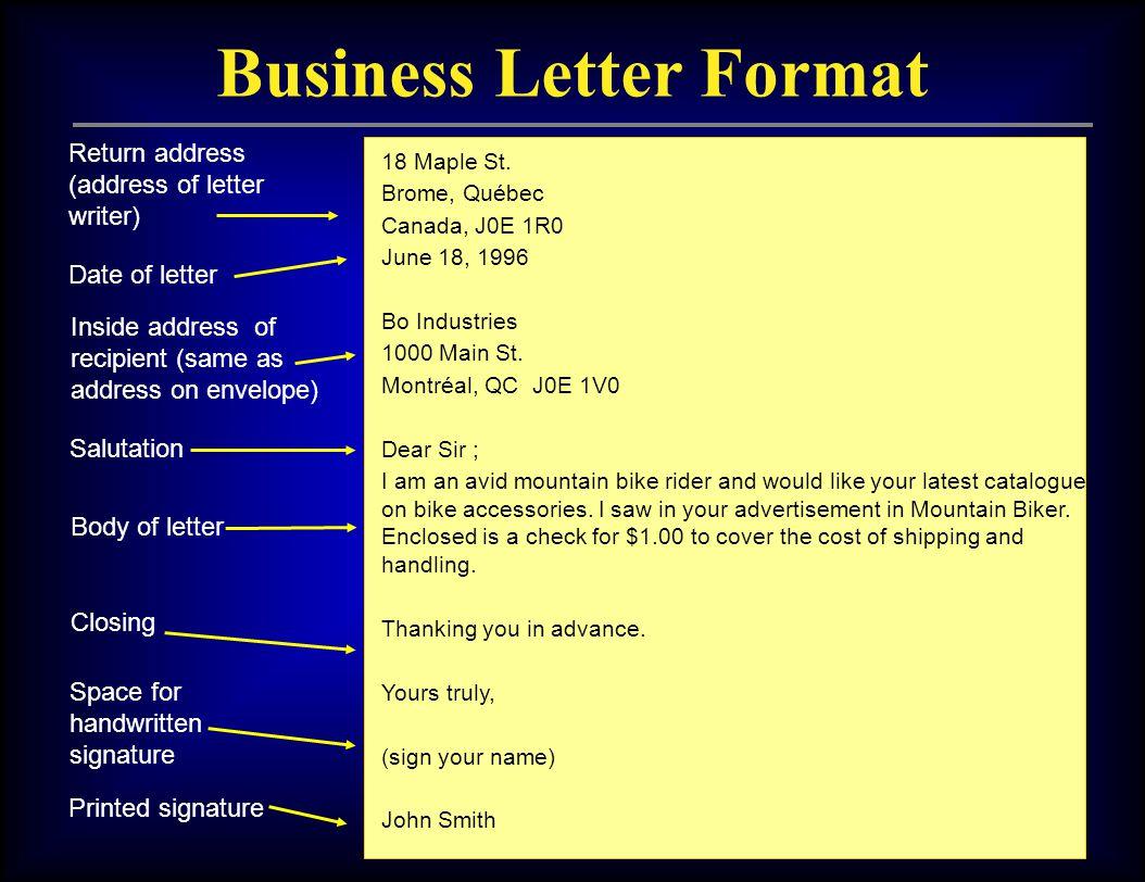 business letter format 18 maple st