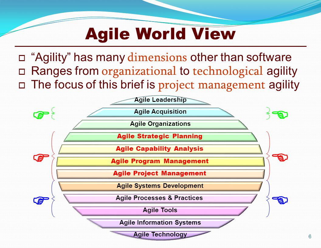 Agile World View  Agility has many dimensions other than software  Ranges from organizational to technological agility  The focus of this brief is project management agility       Agile Leadership Agile Acquisition Agile Organizations Agile Strategic Planning Agile Capability Analysis Agile Program Management Agile Technology Agile Information Systems Agile Tools Agile Processes & Practices Agile Systems Development Agile Project Management 6
