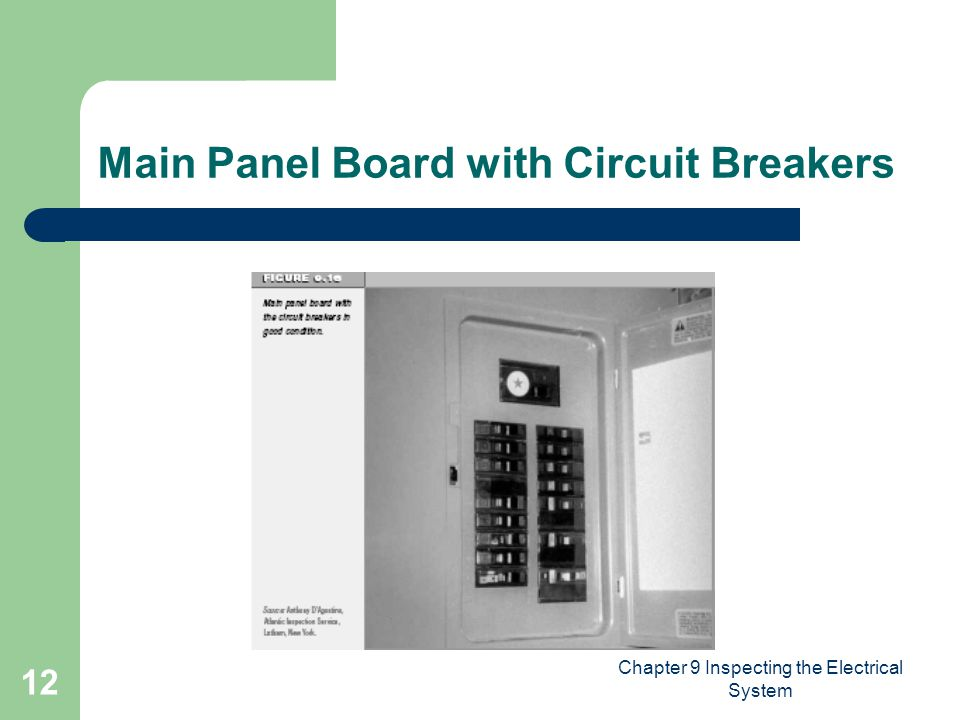 Chapter 9 Inspecting the Electrical System 12 Main Panel Board with Circuit Breakers