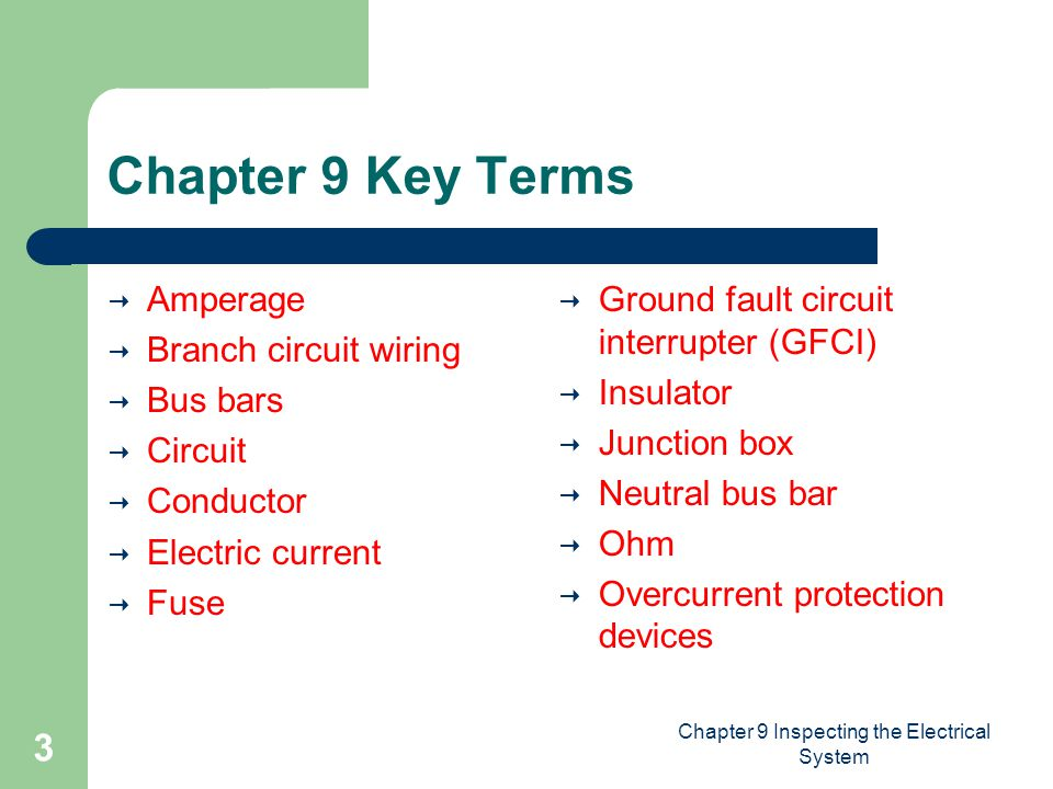 Chapter 9 Inspecting the Electrical System 3 Chapter 9 Key Terms  Amperage  Branch circuit wiring  Bus bars  Circuit  Conductor  Electric current  Fuse  Ground fault circuit interrupter (GFCI)  Insulator  Junction box  Neutral bus bar  Ohm  Overcurrent protection devices