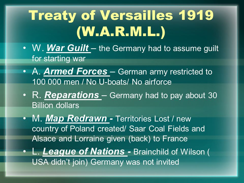 Treaty of Versailles 1919 (W.A.R.M.L.) W.